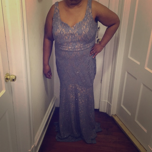 Betsy & Adam Dresses & Skirts - Periwinkle Lace Evening Gown w/ Nude Underlay